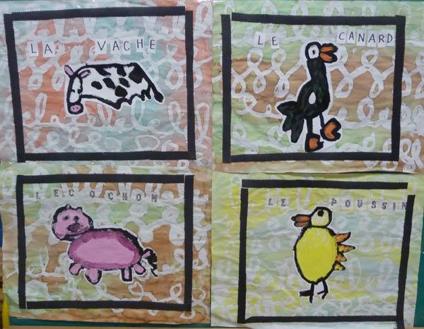 Préférence animaux de la ferme en peinture OU53