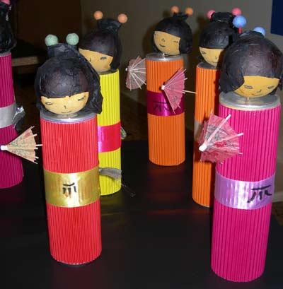 Fabriquer des poup es japonaises l 39 cole - Activite avec cuillere en bois ...