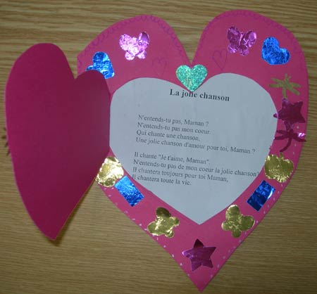 Carte Coeur Fête Mères école Maternelle