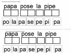 dcoupe les syllabes et place les pour recomposer la phrase